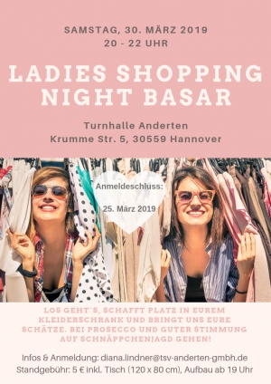 Ladies Shopping Night Basar am 30.03.19 in der Turnhalle Anderten
